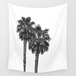 Dos Palmeras // Tropical Black and White Palm Tree Photography California Nature Ocean Vibes Wall Tapestry
