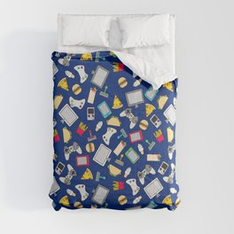 Gamer Blue Gaming Fast Food Kids Retro Pattern Comforters