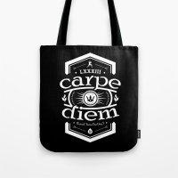 carpe diem Tote Bags featuring Carpe Diem by 83 Drops