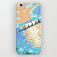 rowing iPhone & iPod Skins featuring Rowing at dawn by enpleinair