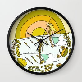 summer time daydreams surf till sunset // retro surf art by surfy birdy Wall Clock