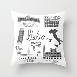 Italian Landmarks Throw Pillow