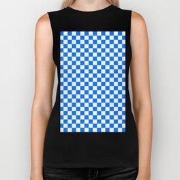 White and Brandeis Blue Checkerboard Biker Tank