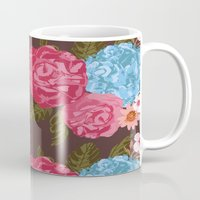 vintage flowers Mugs featuring Vintage Flowers by Anto Del Vecchio