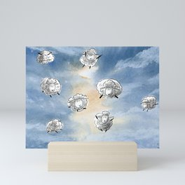 Digital Sheep in a Watercolor Sky Mini Art Print