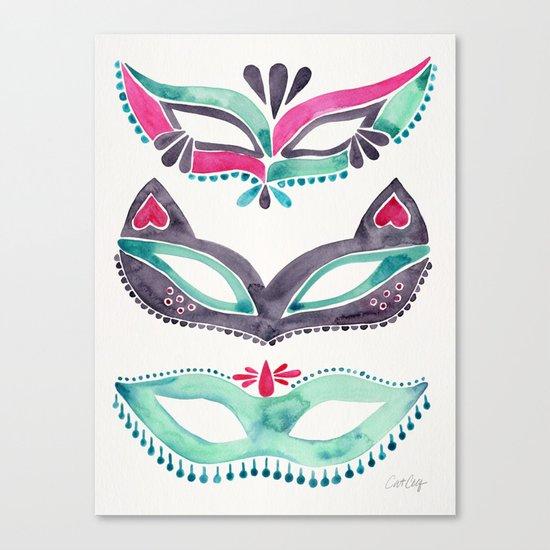Masquerade Mask Trio – Pink & Mint Palette Canvas Print