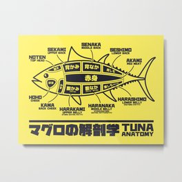 Tuna Anatomy Japanese Maguro Sushi - Yellow Metal Print