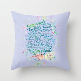 The Angel Answered - Luke 1:35 Throw Pillow