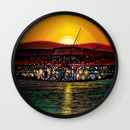 Angel Island Sunset (Square) Wall Clock