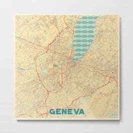 Geneva Map Retro Metal Print