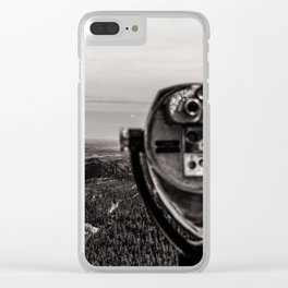 Mountain Tourist Binoculars Black and White Clear iPhone Case