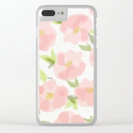 Floral watercolor pattern - pink roses Clear iPhone Case