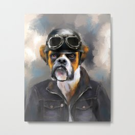 Chic Boxer Aviator Metal Print
