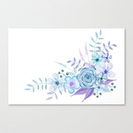 Watercolor Flowers Blue and Purple Canvas Print