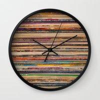 vinyl Wall Clocks featuring Vinyl by elle moss