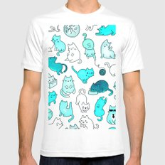 Cat Space - Galaxy Stars Turquoise Blue Green Star Kitty Pattern iPhone Case Cover Mens Fitted Tee MEDIUM White