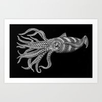 squid Art Prints featuring Squid by Tim Jeffs Art