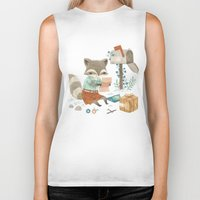 raccoon Biker Tanks featuring Raccoon Post by Teagan White