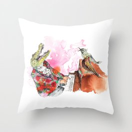 Piano Playing Alligator in a Floral Blazer, with Backup Singing Birds Throw Pillow