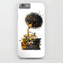 Gramophone music art gold and black #gramophone #music iPhone Case