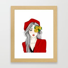 Hana with The Red Hat Framed Art Print