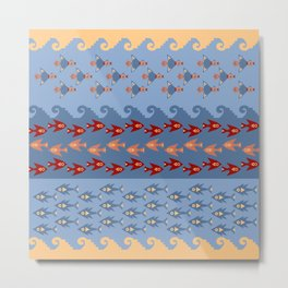 Inca Ethnic Pattern Fish and Birds Metal Print