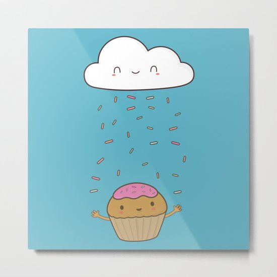 Kawaii Cute Cupcake Sprinkles Metal Print