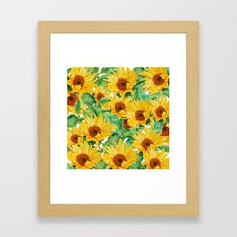 sunflower pattern Framed Art Print