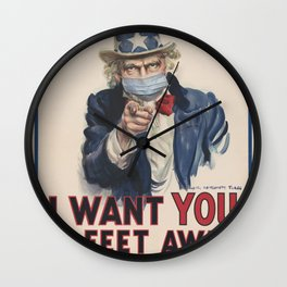 Retro Uncle Sam I want you Social Distancing Tee Virus protection Wall Clock