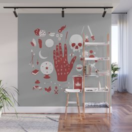 Methods of Divination - Gray & Red Wall Mural