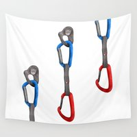climbing Wall Tapestries featuring Rock Climbing Quickdraw by mailboxdisco