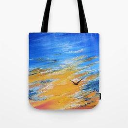 ocean sunset, original oil painting landscape, blue wall art, beach decor Tote Bag