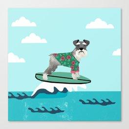 schnauzer surfing dog breed pattern Canvas Print