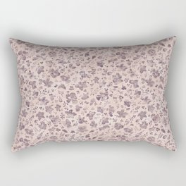 Ditsy Lilac Field of Petals on Pink,  Tiny Floral Pattern Rectangular Pillow