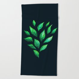 Dark Abstract Green Leaves Beach Towel