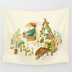 Critters: Summer Gardening Wall Tapestry