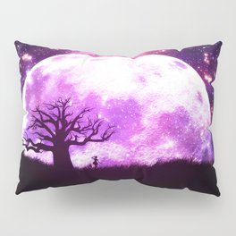 Lone tree over rising pink moon Pillow Sham