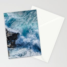 Sea Onda Sea Storm Cliff Wet Landscape Blue Stationery Cards
