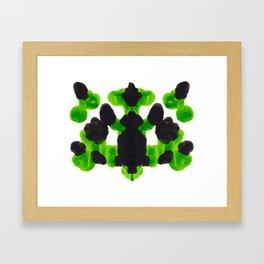 Lime Green Ink Blot Organic Pattern Framed Art Print