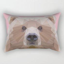 Low poly bear on pink background Rectangular Pillow