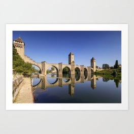 River Lot and Pont Valentre, Cahors, France Art Print