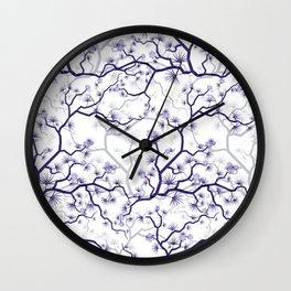 Abstract navy blue gray lavender floral illustration Wall Clock