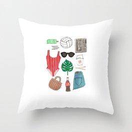 Beach Essentials Throw Pillow