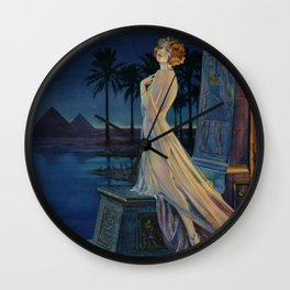 Melody of Ancient Egypt Art Deco romantic female figure by the River Nile painting by Henry Clive Wall Clock