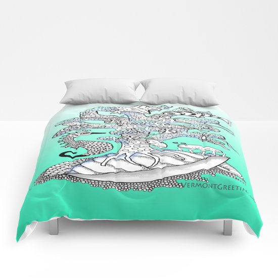 Zentangle Seahorse, Coral, Starfish Undersea Illustration Comforters