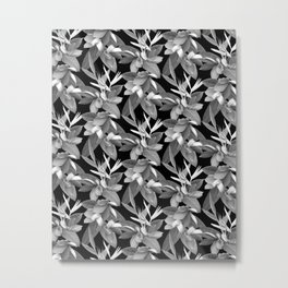 Mixed Paradise Tropicals in Black and White Metal Print