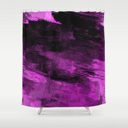 Purple Haze - Abstract, purple and black painting Shower Curtain