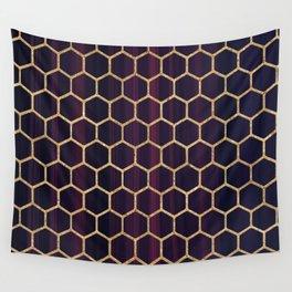 Purple Fusion Hexagon Pattern Wall Tapestry