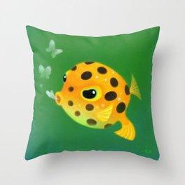 Yellow boxfish Throw Pillow