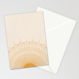 Radiant Sun, Mid Century Boho Decor, Abstract Geometric Art, Minimalist Art, Orange and Beige Stationery Cards